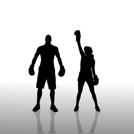 boxing match: Vector silhouette of a couple on a white background.