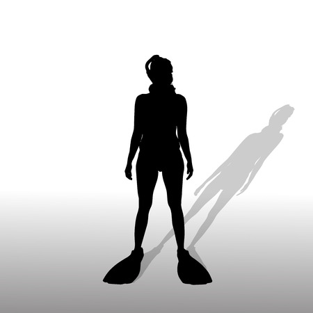 Vector silhouette of a woman with flippers and a snorkel. Stock Vector - 28601970