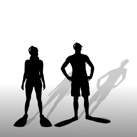 Vector silhouette of a couple with flippers and a snorkel. Illustration