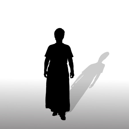 activ: Vector silhouette of a woman on white background.
