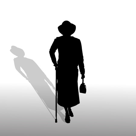 Vector silhouette of a woman on white background. Vector