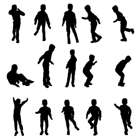 young boy: Vector silhouette of a boy on a white background.