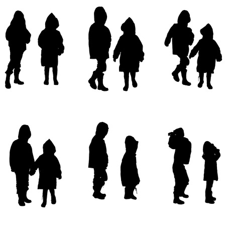 Vector silhouette of children in raincoats on white background.