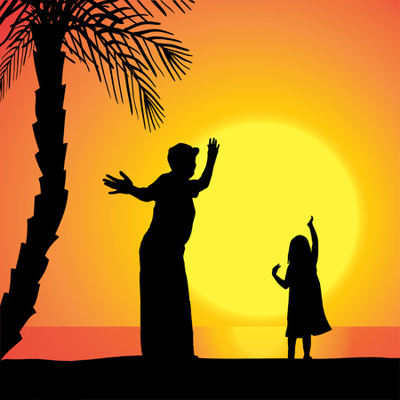 Vector silhouette of a woman with child at sunset. Vector