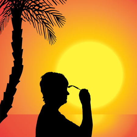 palm reading: Vector silhouette of a woman at the sunset.