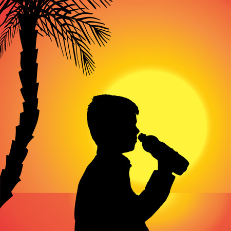Vector silhouette of a boy at sunset. Vector