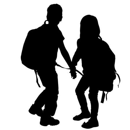 vector silhouette of children with backpack on white background. Stok Fotoğraf - 28609366