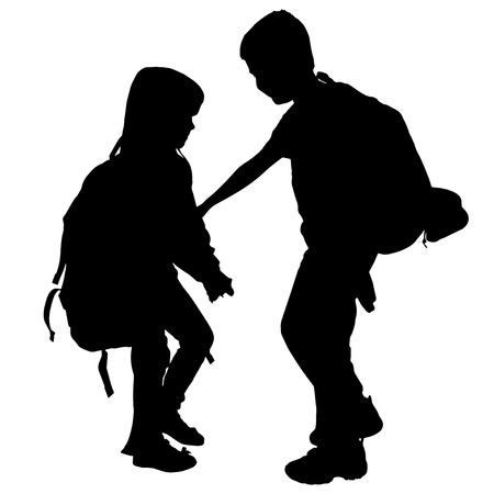 vector silhouette of children with backpack on white background. Vector