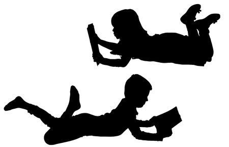 mujer leyendo libro: Vector siluetas de los ni�os sobre un fondo blanco.