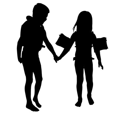 swimming silhouette: vector silhouette of children who play on white background.