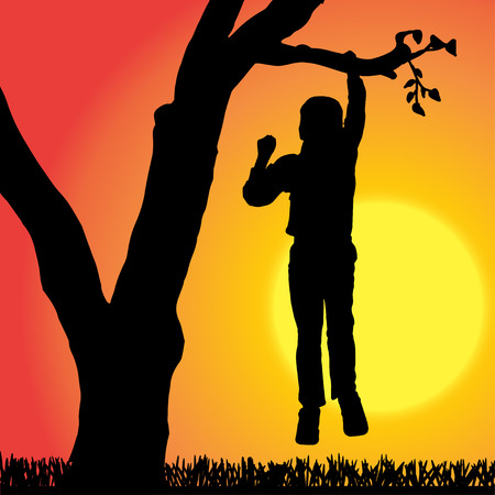 Vector silhouette of children who play at sunset. Vector