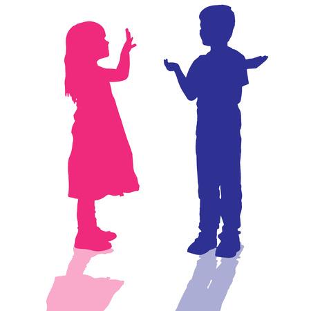 Vector silueta de los niños que juegan en el fondo blanco. Foto de archivo - 28624000
