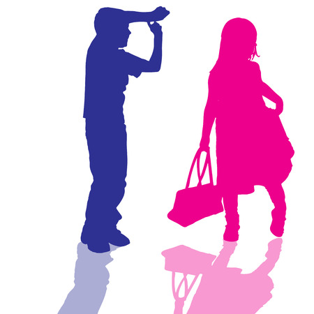 vector silhouette of children who play on white background. Vector