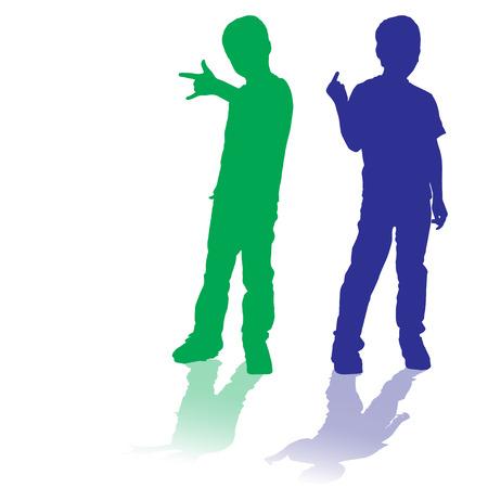 anger kid: vettore silhouette di bambini che giocano su sfondo bianco. Vettoriali