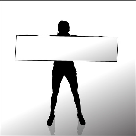 activ: Vector silhouette of a woman with a sign for text.