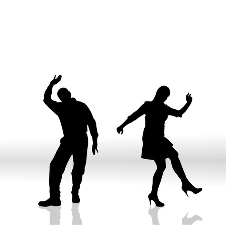 activ: Vector silhouette of couple on a white background. Illustration