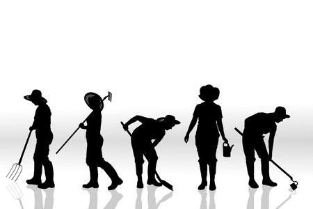 Vector silhouette of people on a white background. 向量圖像