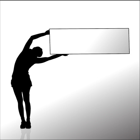 Vector silhouette of a woman with a sign for text. Vector