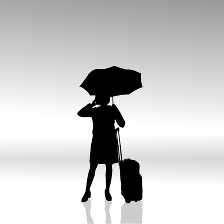 sexy umbrella: Vector silhouette of businesswoman on a white background.
