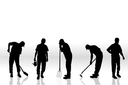 Vector silhouette of people on a white background. Vector