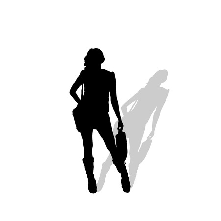 businesswoman skirt: Vector silhouette of a woman on white background.