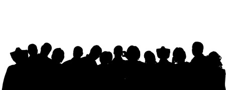 nameless: Vector silhouette of anonymous people on a white background.