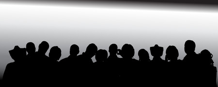 nameless: Vector silhouette of anonymous people on a gray background. Illustration