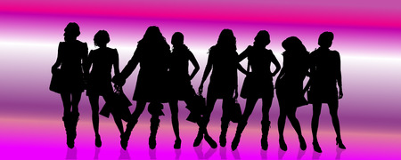 Vector silhouettes of different women on a pink background with stripes. Vector