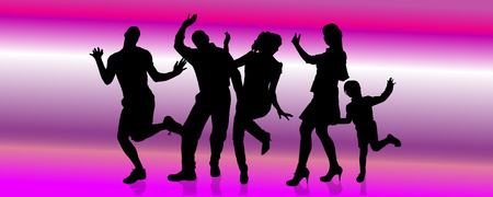 Vector silhouette of a family who is dancing on a pink background. Vector