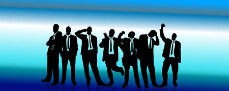 Vector silhouette di un uomo d'affari su sfondo blu con strisce.