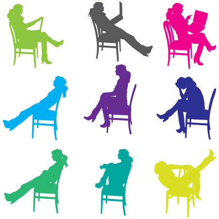 Vector silhouette of a woman who is sitting on a chair. Vector