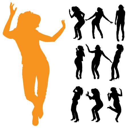 activ: Vector silhouette of a woman on a white background.