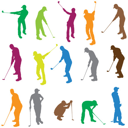 Vector silhouette of a man who plays golf.  Vector