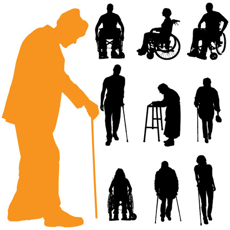 Vector silhouet van mensen met een handicap op een witte achtergrond.