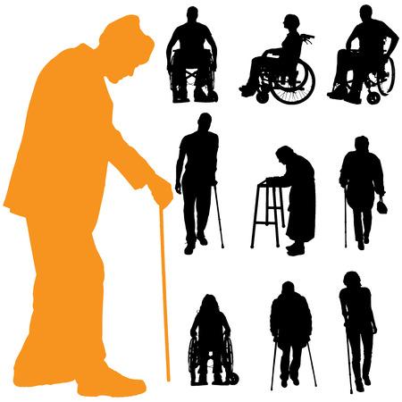 Vector Silhouette von Menschen mit Behinderungen auf einem weißen Hintergrund.