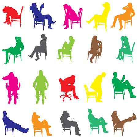 Vector silhouette of a people who is sitting on a chair. Vector