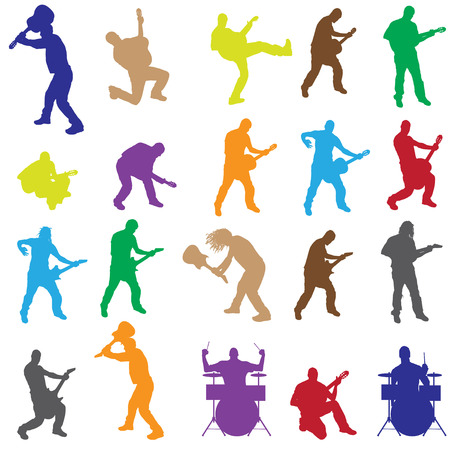 Vector silhouettes of musicians with different instruments. Vector