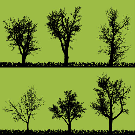 Vector silhouette of tree on a green background. Vector