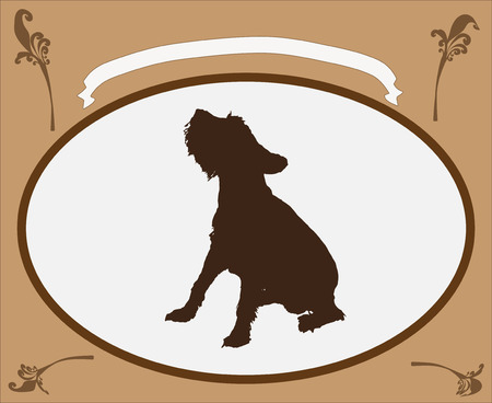 Vector retro frame brown color with dog. Vector