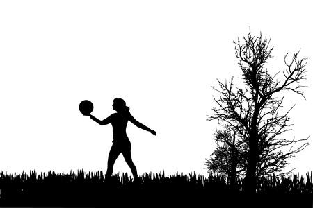 balon de voley: Vector silueta de la mujer que juega con el globo.