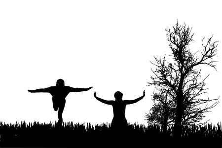 yoga outside: Vector silhouette of couple on a white background. Illustration
