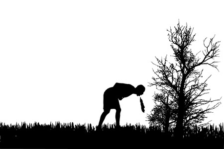 vomit: Vector silhouette of a man in nature.