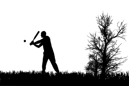Vector silhouette of a man who plays baseball. Vector