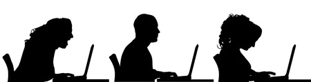Vector silhouette of a people sitting at a computer on a white background. Vector