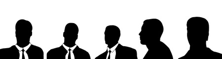 Vector silhouette of a businessmans head on a white background. Illustration