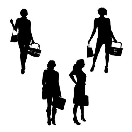 purchasing manager: Vector silhouette of a woman with shopping bags.