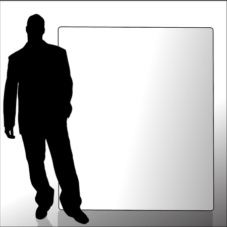 Vector silhouette of a man with a sign for text. Vector