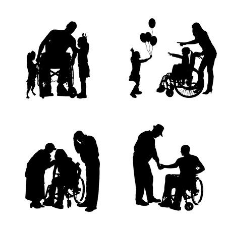 Vector silhouettes of people in a wheelchair on a white background.