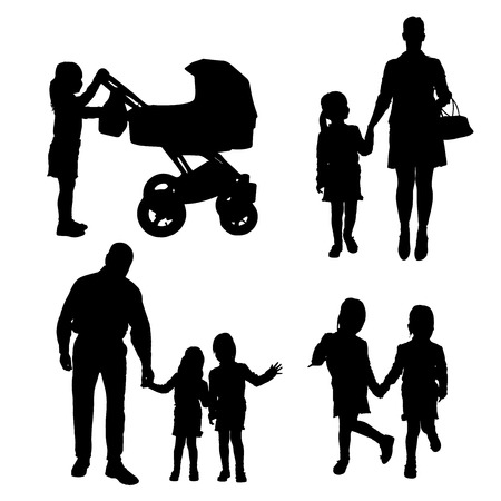 nanny: Vector silhouette of family on white background.