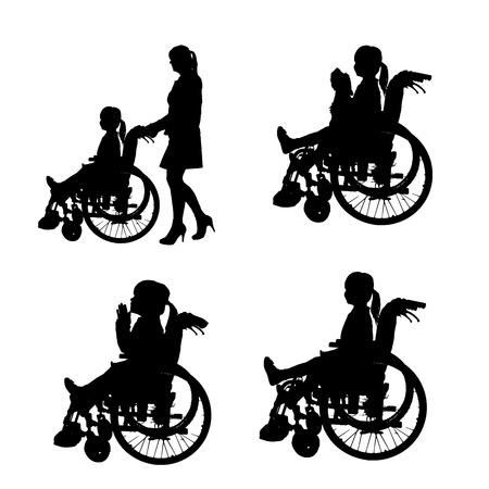 Vector silhouetten van mensen in een rolstoel op een witte achtergrond. Stock Illustratie